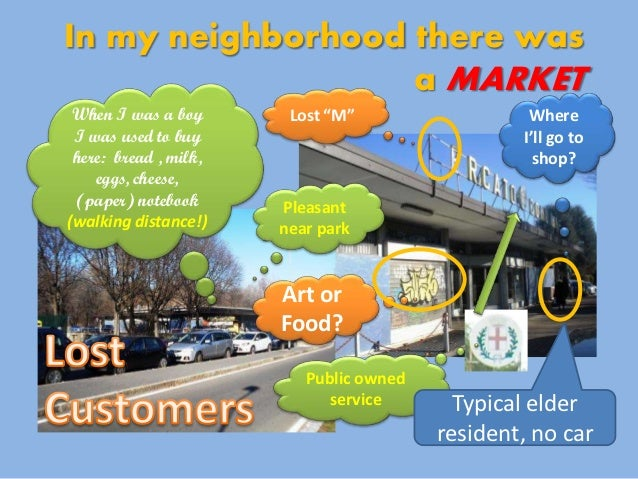 """In my neighborhood there was                   a MARKET When I was a boy       Lost """"M""""                  Where I was used ..."""