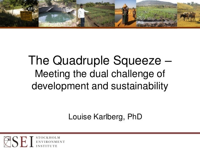 The Quadruple Squeeze –Meeting the dual challenge ofdevelopment and sustainabilityLouise Karlberg, PhD