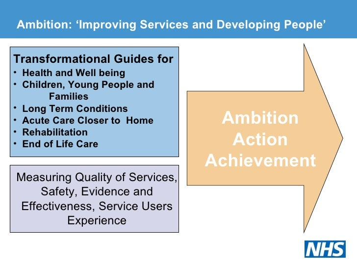 Ambition: 'Improving Services and Developing People' <ul><li>Transformational Guides for </li></ul><ul><li>Health and We...