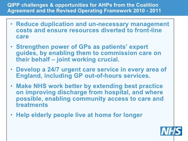 QIPP challenges & opportunities for AHPs from the Coalition Agreement and the Revised Operating Framework 2010 - 2011 <ul>...