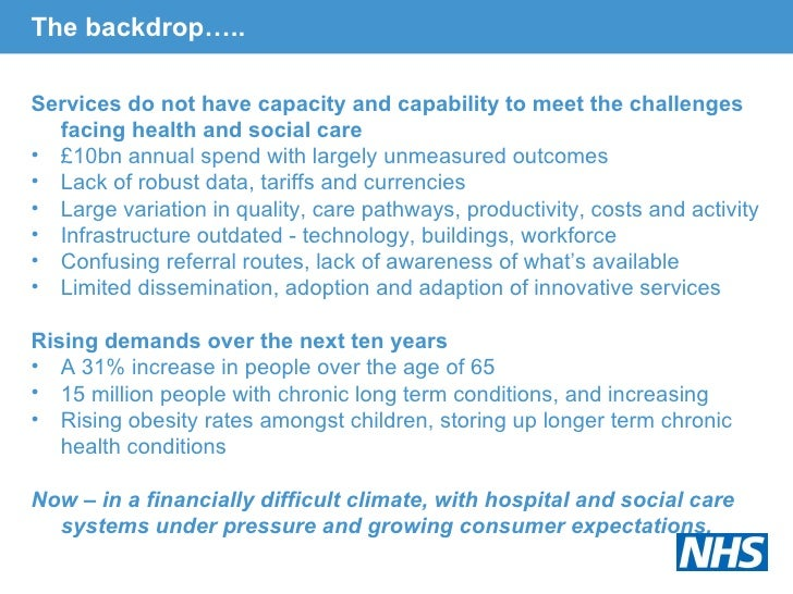The backdrop….. <ul><li>Services do not have capacity and capability to meet the challenges facing health and social care ...