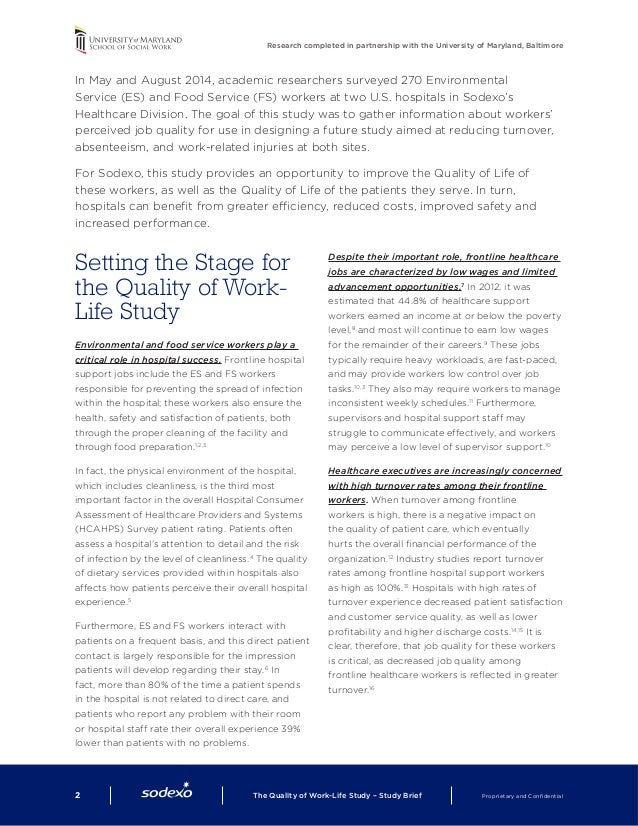 The quality of work life study - research brief