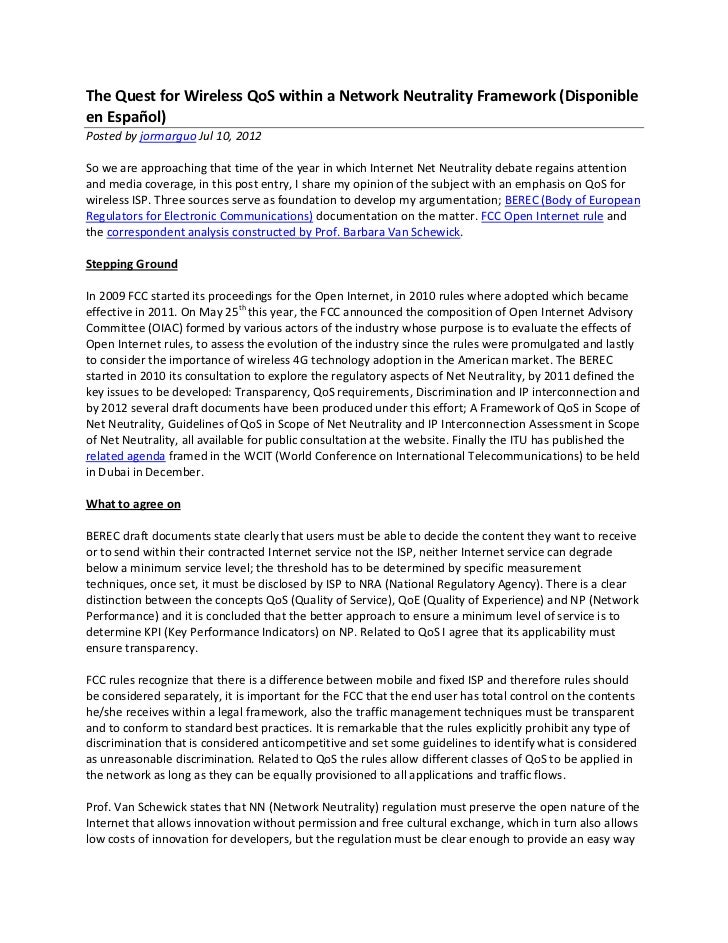 The Quest for Wireless QoS within a Network Neutrality Framework (Disponibleen Español)Posted by jormarguo Jul 10, 2012So ...
