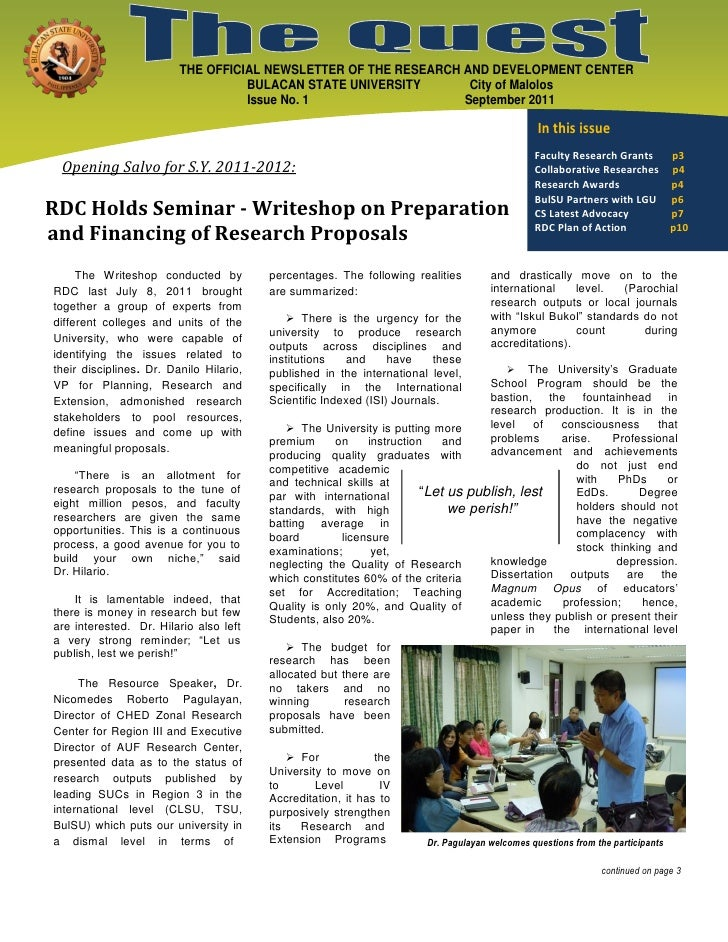 THE OFFICIAL NEWSLETTER OF THE RESEARCH AND DEVELOPMENT CENTER                                   BULACAN STATE UNIVERSITY ...