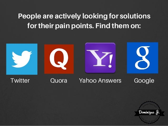 Peopleareactivelylookingforsolutions fortheirpainpoints.Findthemon: Twitter Quora Yahoo Answers Google