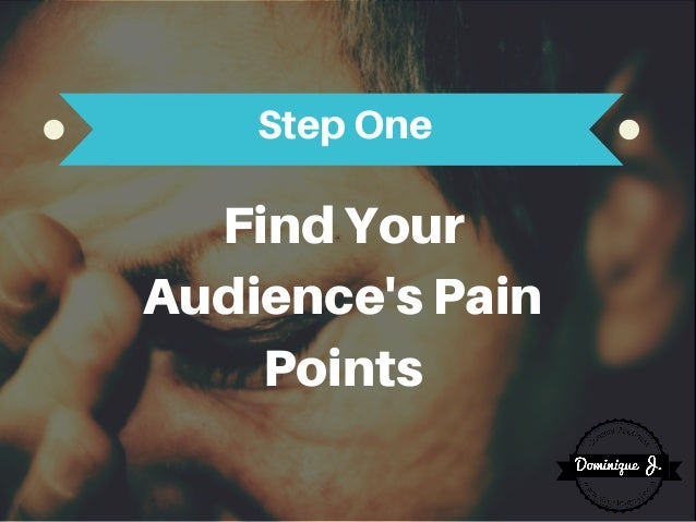 FindYour Audience'sPain Points StepOne