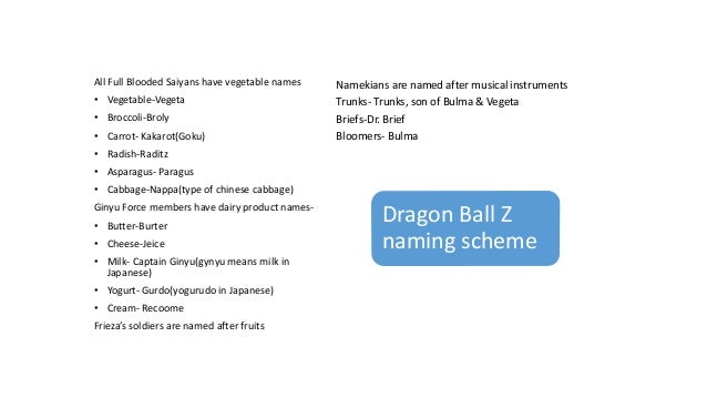 All Full Blooded Saiyans have vegetable names • Vegetable-Vegeta • Broccoli-Broly • Carrot- Kakarot(Goku) • Radish-Raditz ...