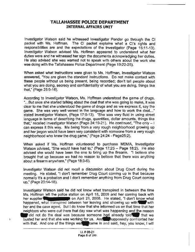 Rachel Hoffman | Internal Affairs Investigation For Drug