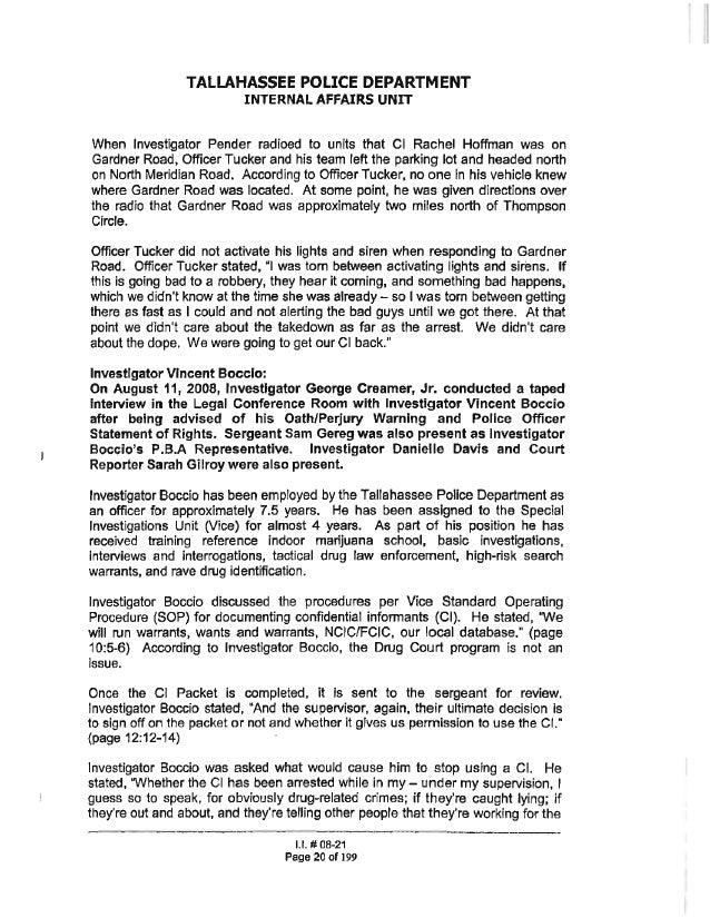 Rachel Hoffman | Internal Affairs Investigation For Drug Informant De…