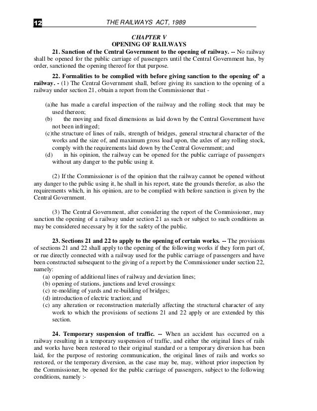 Bare Acts- The Railways Act of 1989, The Railway Claims Tribunal Act …