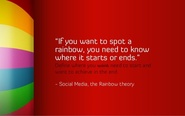 """""""If you want to spot a rainbow, you need to know where it starts or ends."""" Define where you want need to start and want to ..."""