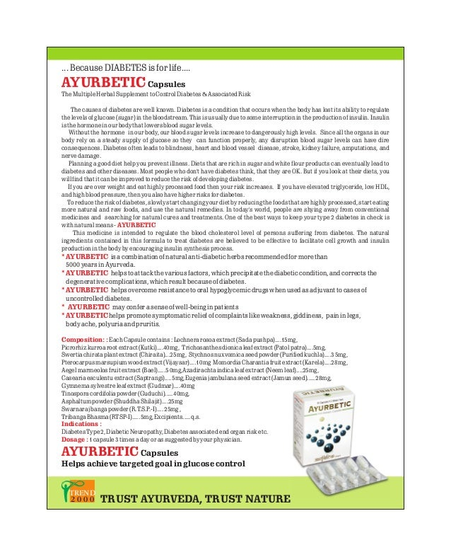 ... Because DIABETES is for life....  AYURBETIC Capsules The Multiple Herbal Supplement to Control Diabetes & Associated R...