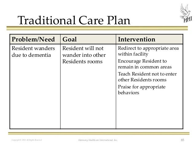 dementia care plan template - the rai process caas care planning and beyond