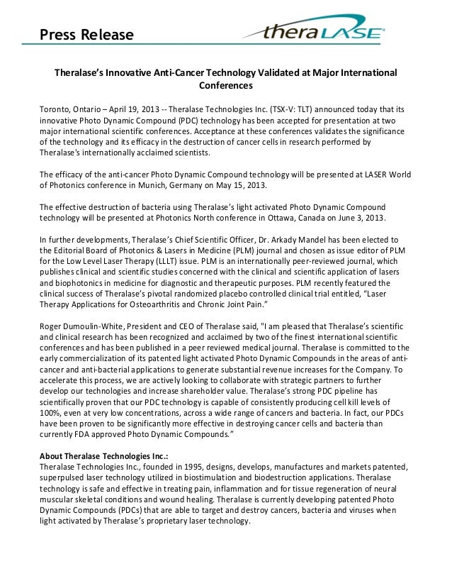 Press Release    Theralase's Innovative Anti-Cancer Technology Validated at Major International                           ...