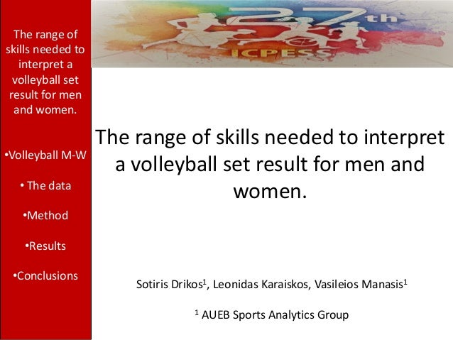 The range of skills needed to interpret a volleyball set result for men and women. Sotiris Drikos1, Leonidas Karaiskos, Va...