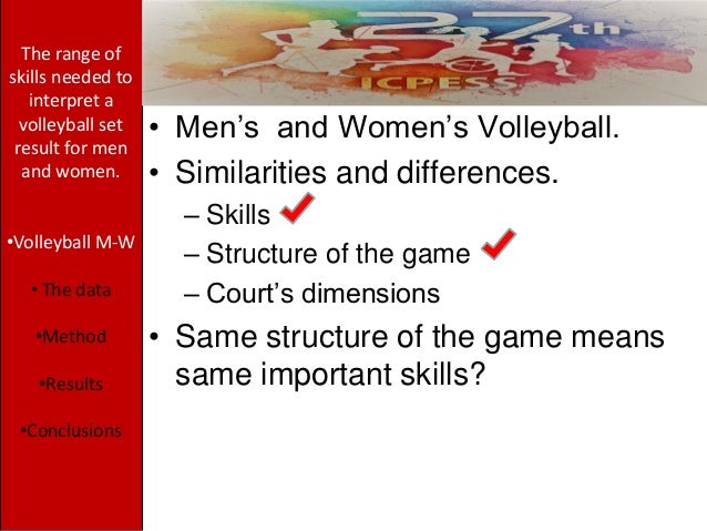 • Men's and Women's Volleyball. • Similarities and differences. – Skills – Structure of the game – Court's dimensions • Sa...