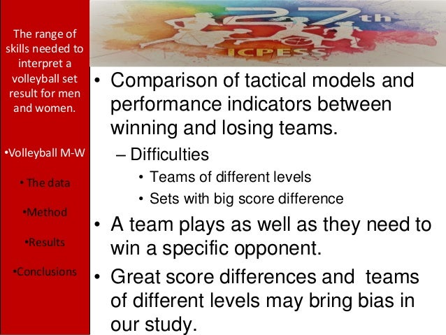 • Comparison of tactical models and performance indicators between winning and losing teams. – Difficulties • Teams of dif...
