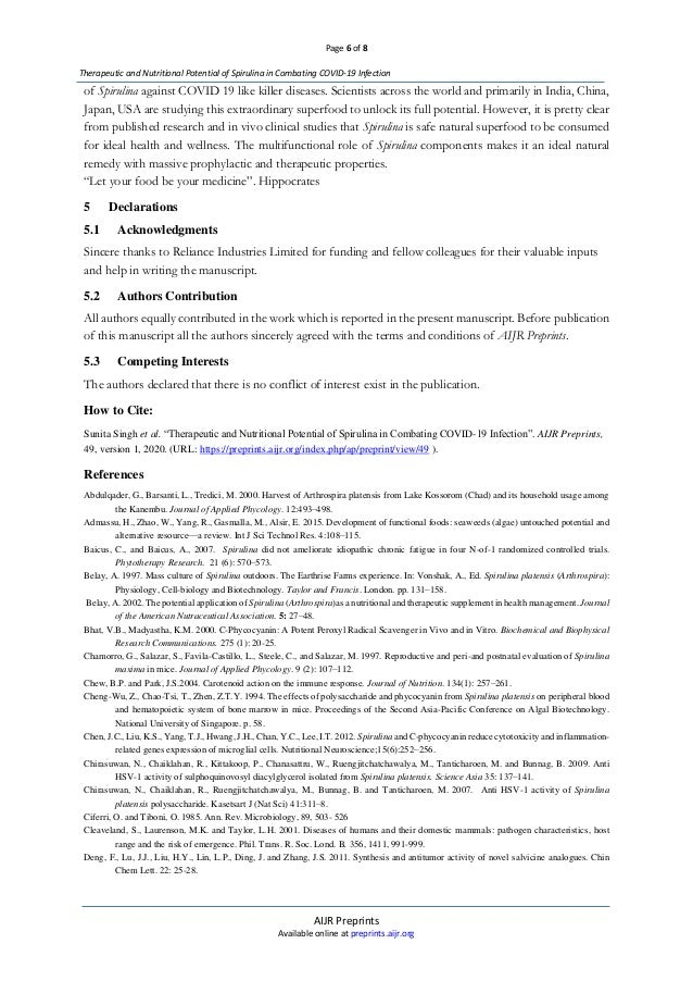 Page 6 of 8 AIJR Preprints Available online at preprints.aijr.org Therapeutic and Nutritional Potential of Spirulina in Co...