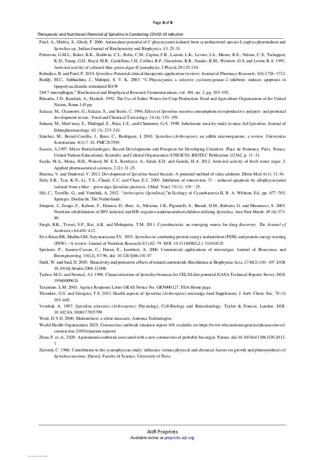 Page 8 of 8 AIJR Preprints Available online at preprints.aijr.org Therapeutic and Nutritional Potential of Spirulina in Co...