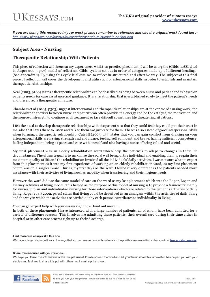 an essay about nursing Nursing care plan and specimens essay 891 words | 4 pages analysis and action plan: adams 5, inpatient rehab unit savetria nicole palmer walden university nurs 2006 section 13, topics in clinical nursing september 21, 2014 quality is a broad term that encompasses various aspects of nursing care (montolvo, 2007.