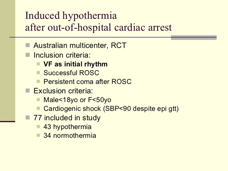 therapeutic hypothermia after cardiac arrest essay This study describes the use of therapeutic hypothermia after cardiac arrest by icus in the uk 3 years after the publication of two trials showing benefit and international guidelines on its application.