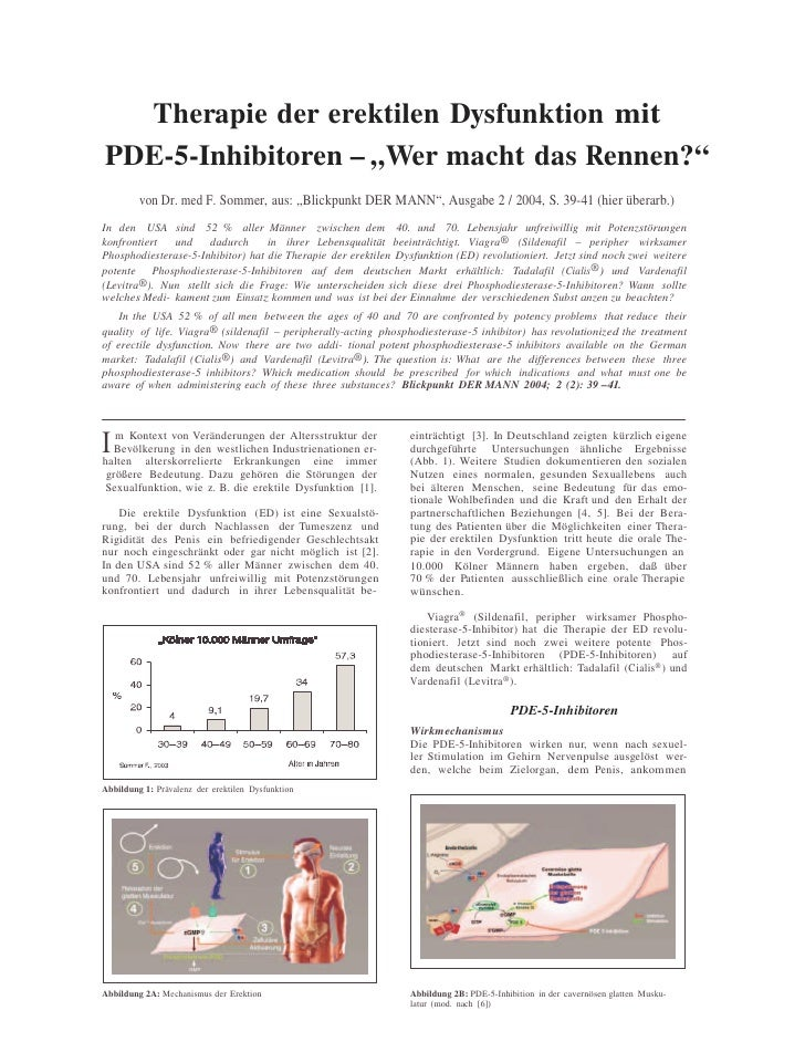 """Therapie der erektilen Dysfunktion mit PDE-5-Inhibitoren – """"Wer macht das Rennen?""""          von Dr. med F. Sommer, aus: """"B..."""