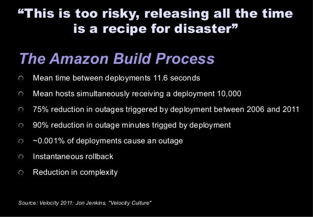 """""""This is too risky, releasing all the time  is a recipe for disaster""""  The Amazon Build Process  Mean time between deploym..."""