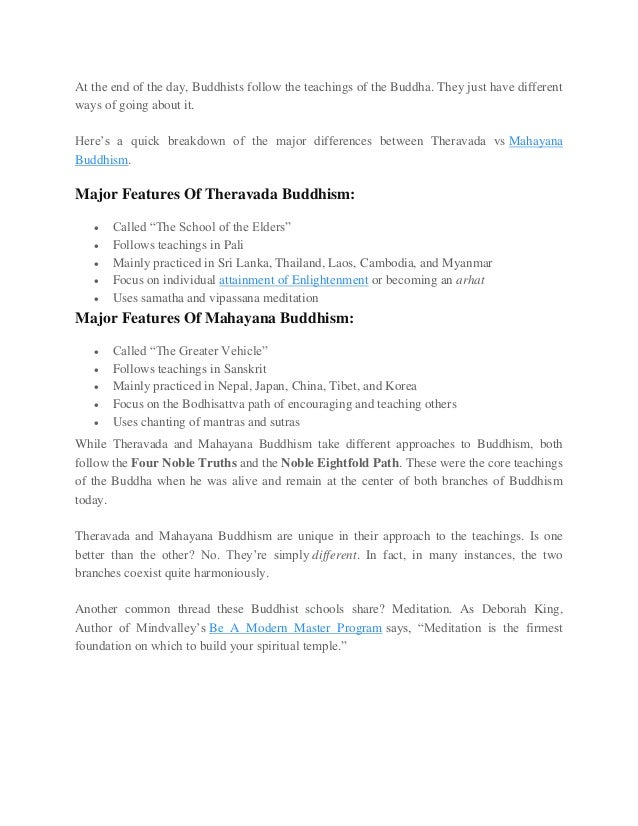 what is the main difference between theravada and mahayana buddhism