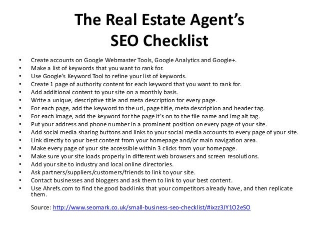 The real estate agents seo checklist