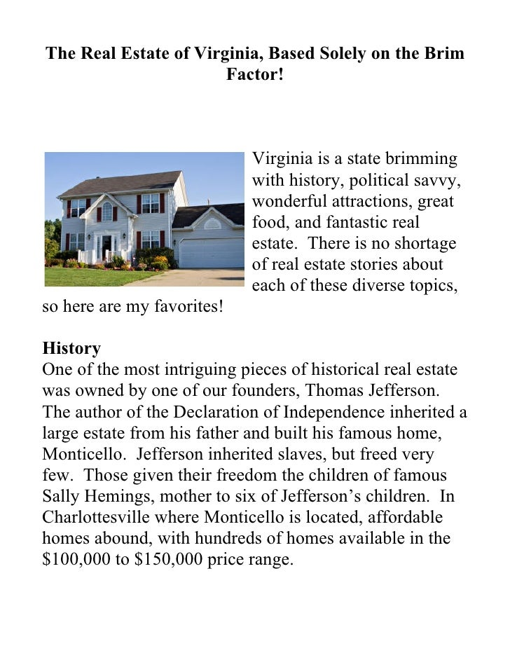 The Real Estate of Virginia, Based Solely on the Brim                        Factor!                                 Virgi...