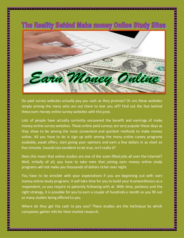 The reality behind make money online study sites