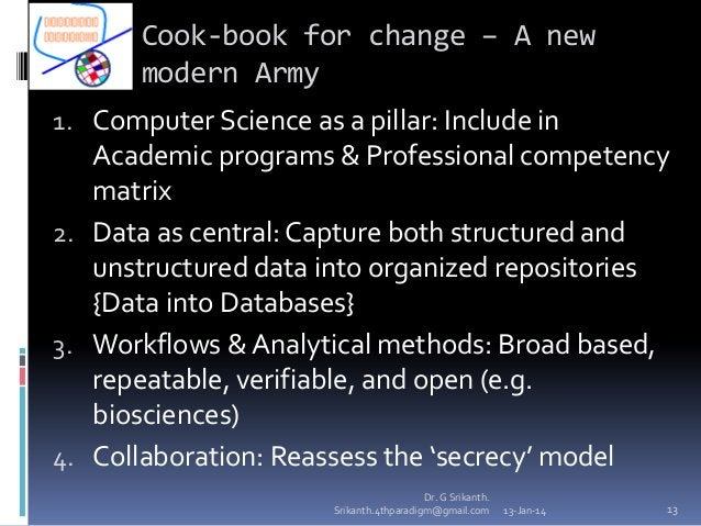 Cook-book for change – A new modern Army 1. Computer Science as a pillar: Include in  Academic programs & Professional com...