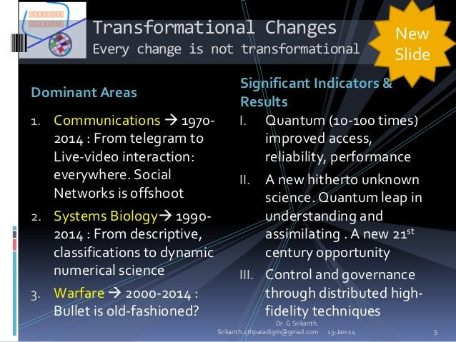 Transformational Changes Every change is not transformational Dominant Areas 1. Communications  1970-  2014 : From telegr...