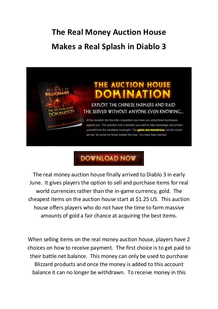 The real money diablo 3 auction house