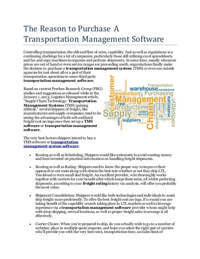 The Reason to Purchase A Transportation Management Software