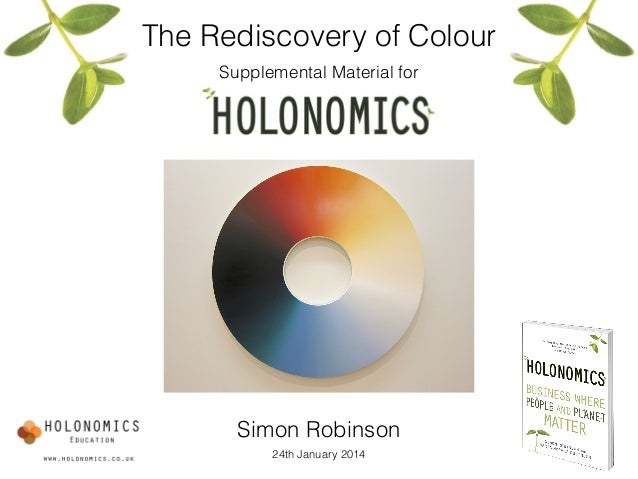 The Rediscovery of Colour! Supplemental Material for Simon Robinson 24th January 2014