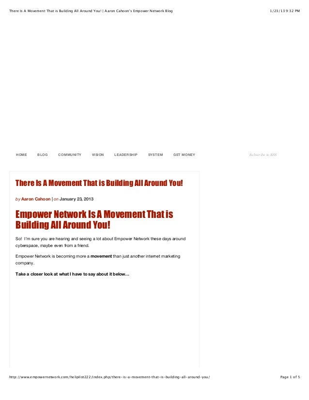 There Is A Movement That is Building All Around You! | Aaron Cahoons Empower Network Blog                             1/23...