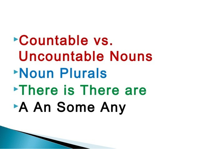 Countable  vs. Uncountable NounsNoun PluralsThere is There areA An Some Any