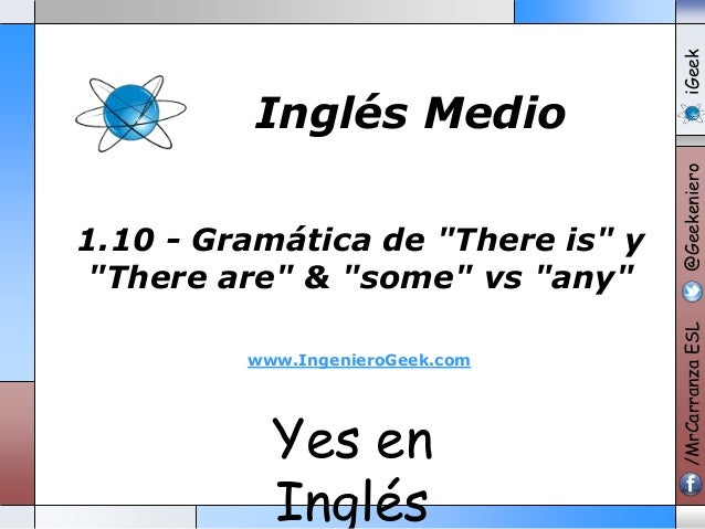 "Yes en Ingl�s 1.10 - Gram�tica de ""There is"" y ""There are"" & ""some"" vs ""any"" www.IngenieroGeek.com /MrCarranzaESL@Geekenie..."
