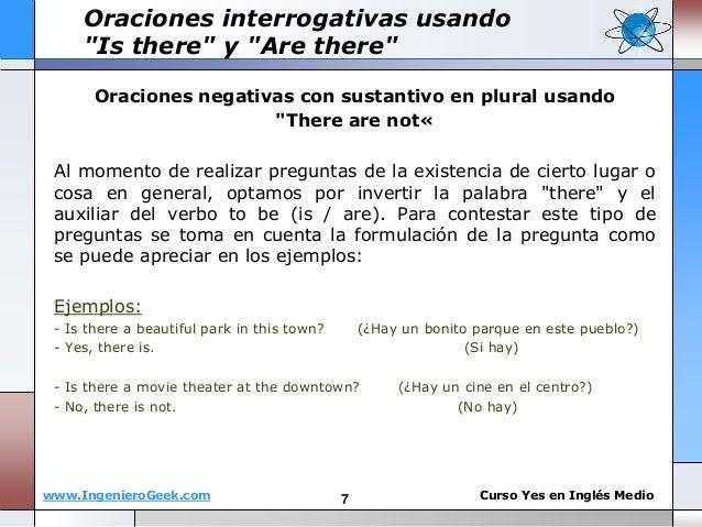 """www.IngenieroGeek.com Curso Yes en Ingl�s Medio Oraciones negativas con sustantivo en plural usando """"There are not� Al mom..."""