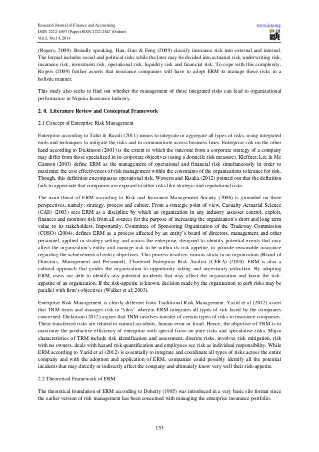 Research paper on enterprise risk management grading system thesis documentation