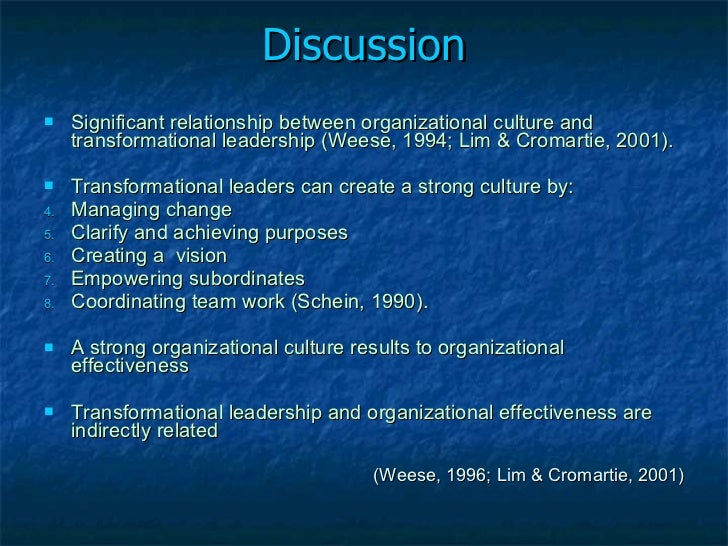 link between transformational leadership and organizational Transformational leadership and long term organizational success be vague and the literature supporting the link between mentoring and leadership in general 1.