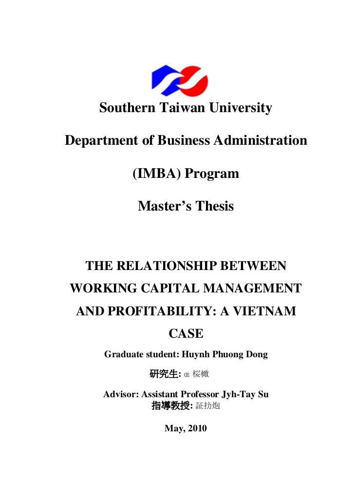 Southern Taiwan UniversityDepartment of Business Administration            (IMBA) Program             Master's Thesis   TH...