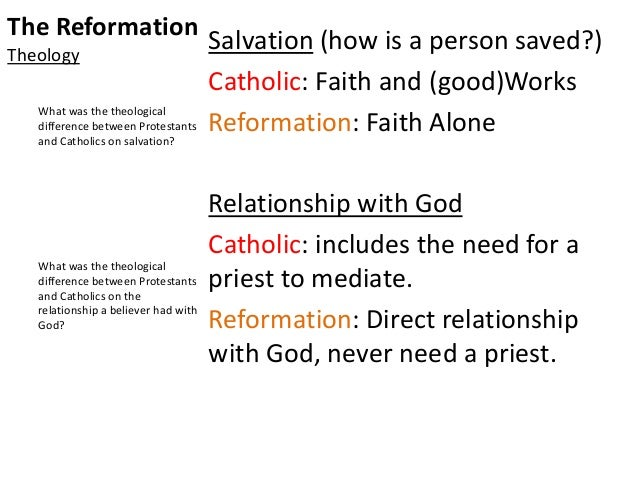 compare contrast lutheran reformation and catholic reformation Five hundred years after the start of the protestant reformation, a new pew   catholicism, by contrast, holds that christians should look both to the  by  comparison, 57% of adults without a college degree and 56% of adults.