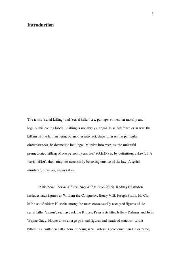 serial killer research paper introduction