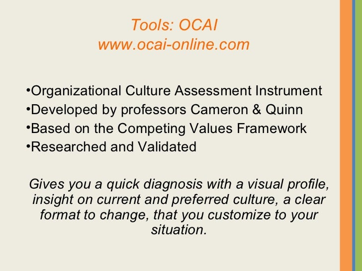 The required leadership for an ophthalmic practice for Organizational culture assessment instrument template