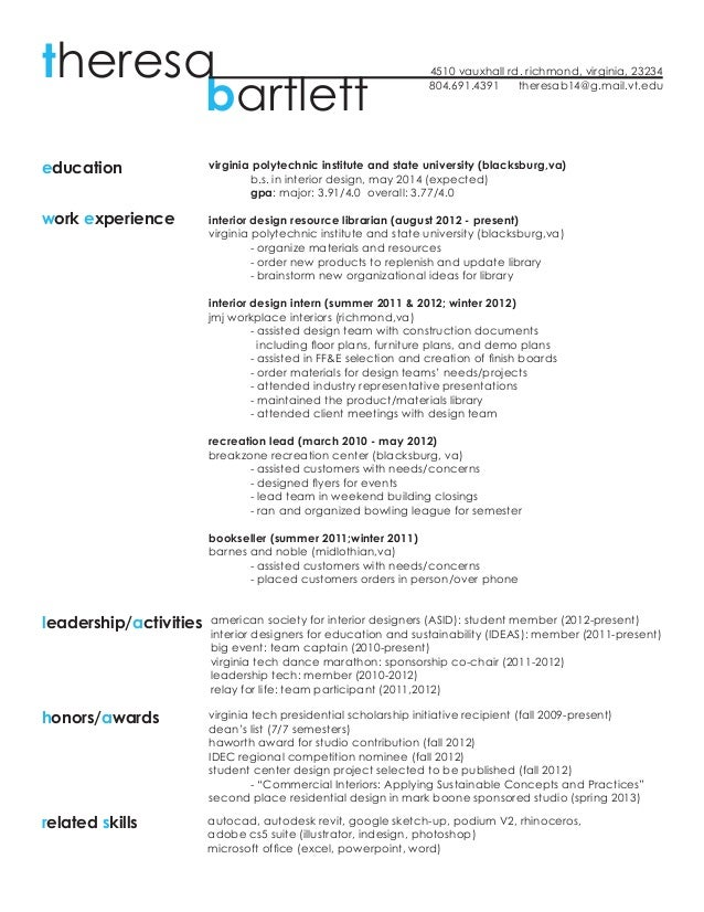resume work sample theresa bartlett - Example Of A Work Resume