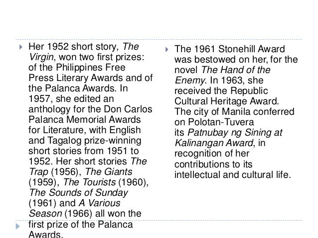 "story of the sounds of sunday by kerima tuverra Women in selected short stories written by filipino women writers in three  feminism waves, namely  wave (1960-1980) stories are ""the sounds of  sunday"" and ""unfinished story"" published in 1961 and  stories by kerima  polotan- tuvera."