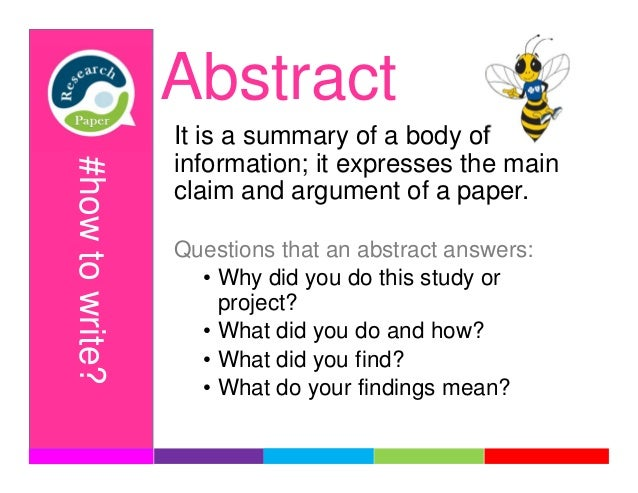 what goes in abstract of research paper