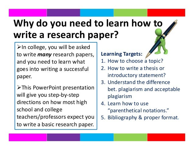 What to write in a research paper